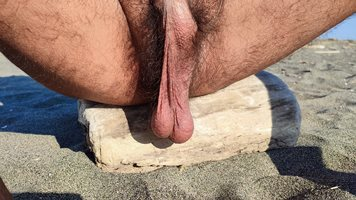 Masturbating on the beach and then... everything it's go out, pee, sperm......