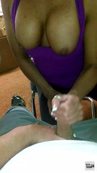 Big tit hand job