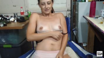 Wife pleasures her pussy for you in the garage